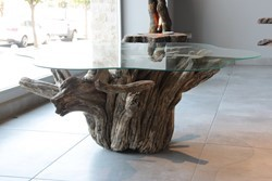 Glass Coffee Table with Mandarin Tree Root Base