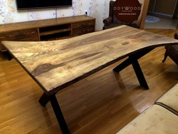 Walnut Log Desk No:3 -  Metal Cross Leg