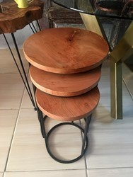 Natural Plane Wood Coffee Table Set 3