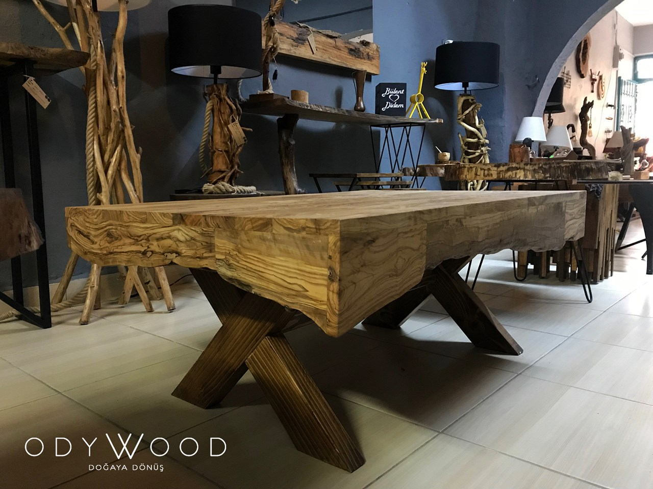 TETRİS Wooden Coffee Table - Olive Wood'in resmi