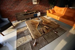 Mirro Walnut Wood Epoxy Resin Coffe Table