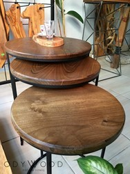 Sris Walnut Wood Side Table Set