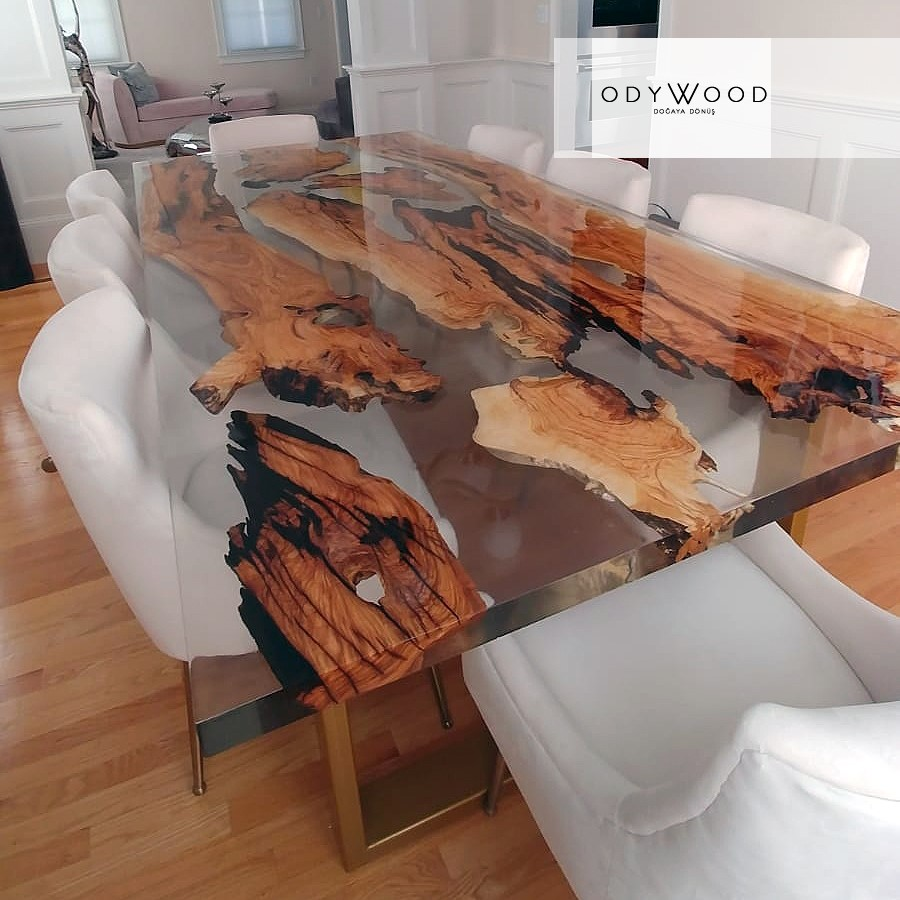 Natural Olive Wood Epoxy Resin Dining Table Custom Order