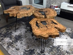 Levels Olive Wood Coffee Tables with Epoxy Fill