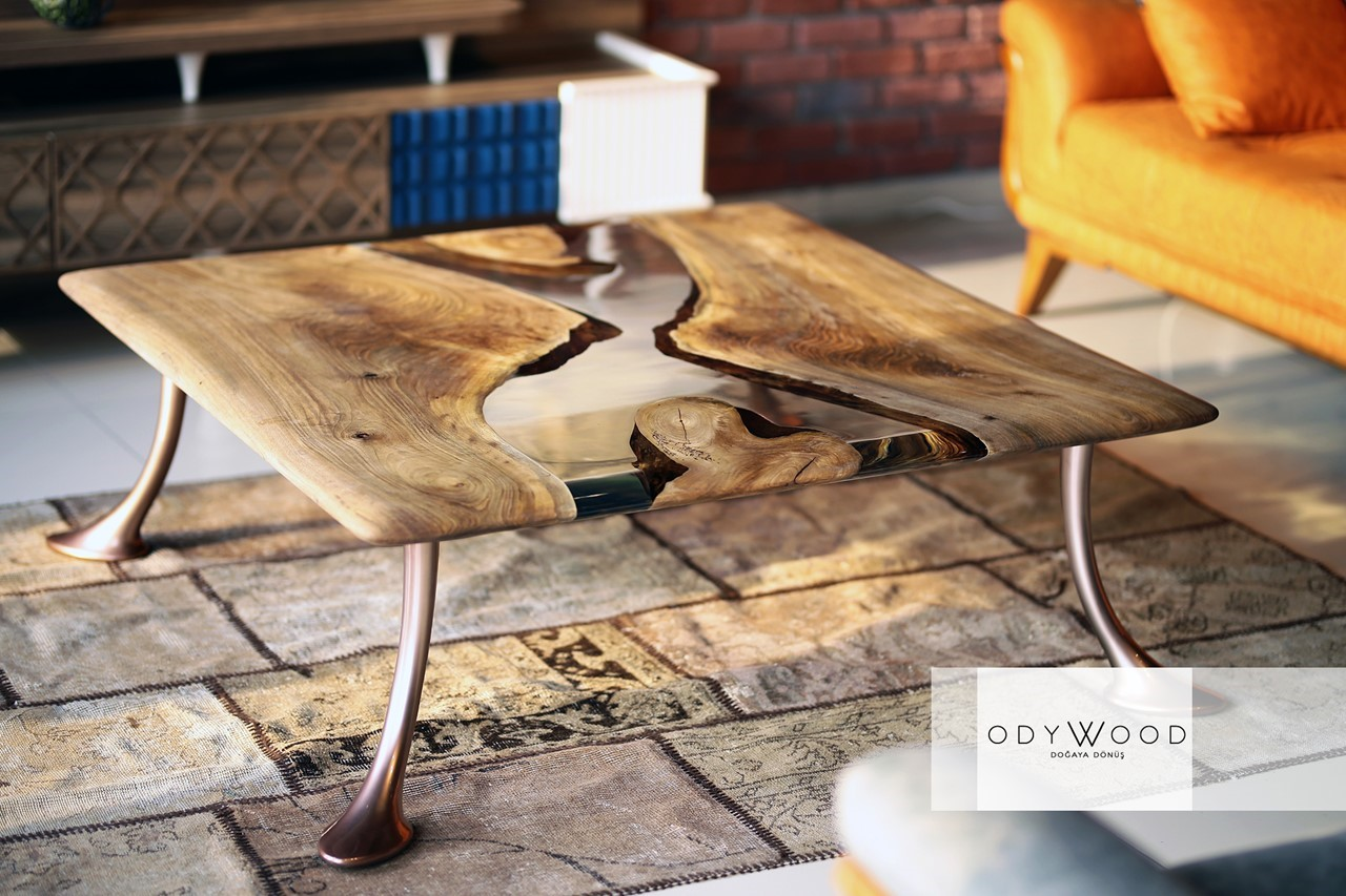 Mirro Walnut Wood Epoxy Resin Coffe Table'in resmi