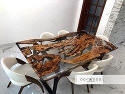Transparent Dining Table with Epoxy Resin and Olive Wood - Custom