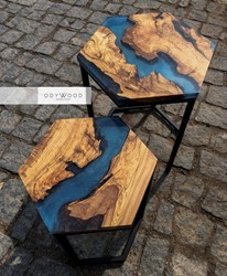 Earth Hexagon Epoxy Resin Side Tables
