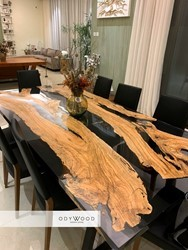 Transparent Black Epoxy Resin Dining Table