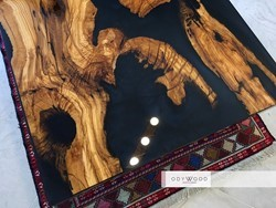 Live Edge Wood Epoxy Coffee Table - Ghost Blue