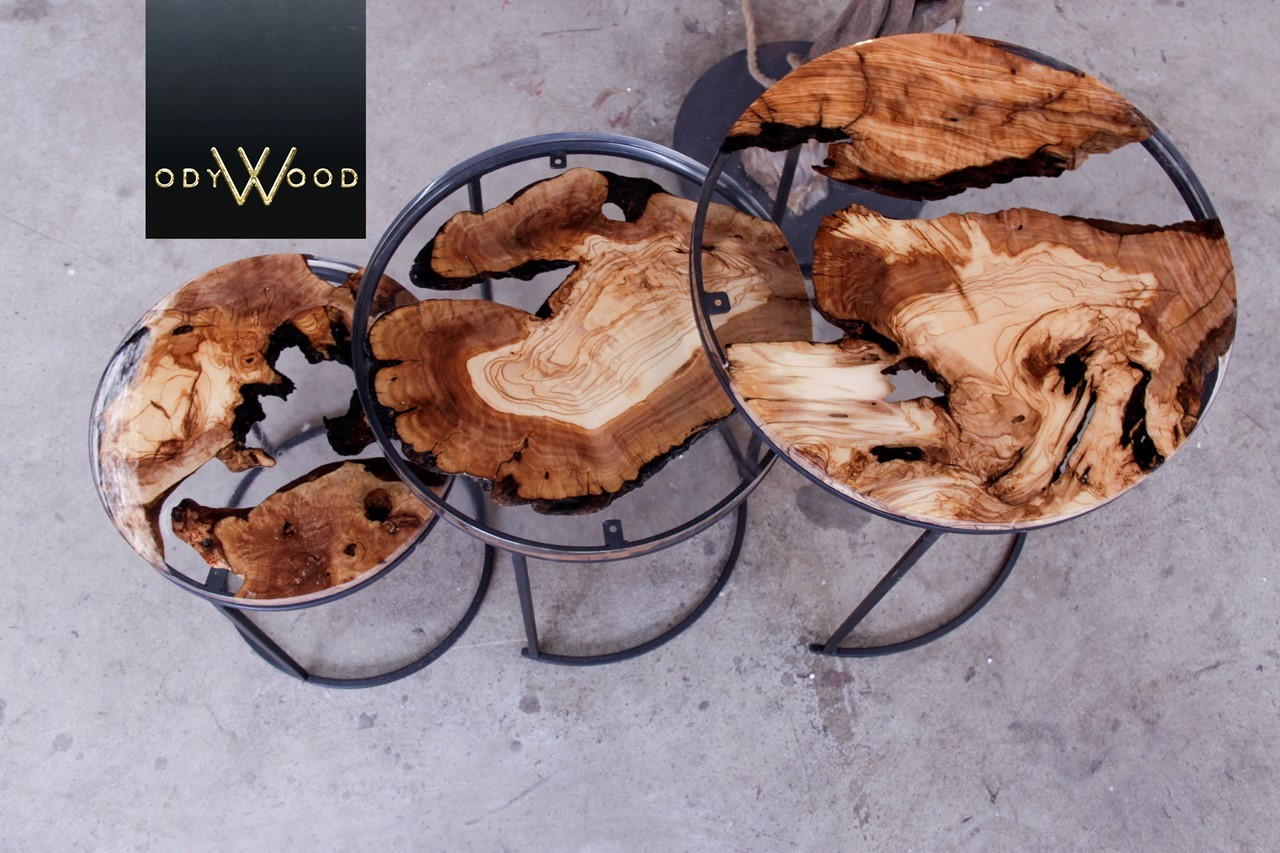 Kanyon Epoxy Coffee Tables Green Ruby'in resmi
